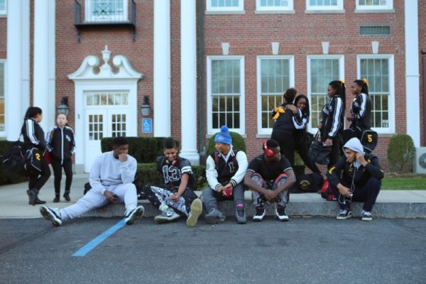 Players and fellow students relaxing in front of Bridgehampton School. Hilary McHone photos